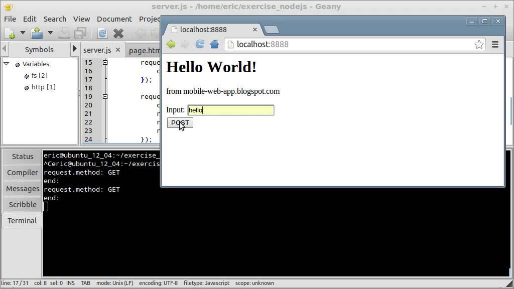 Node js example to handle POST method
