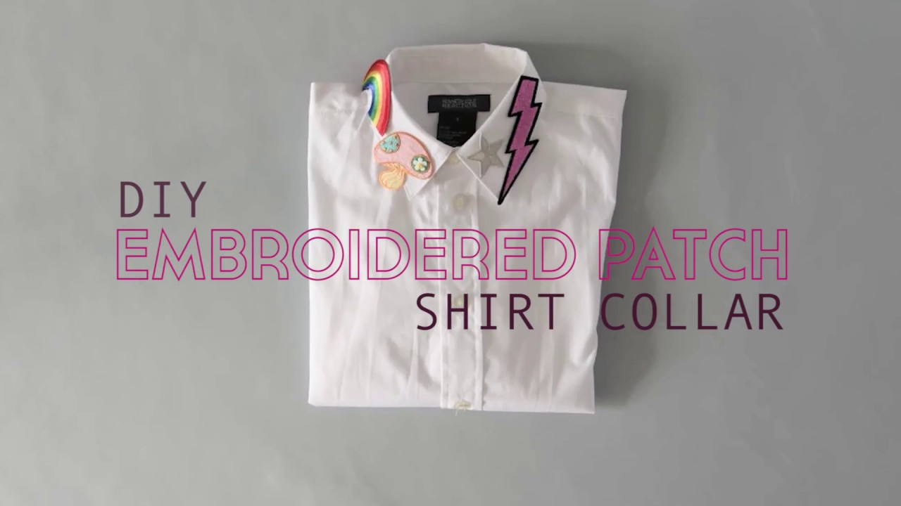Diy Embroidered Shirt Collar No Sew Youtube