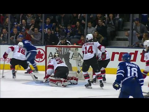 Devils' Schneider down, Maple Leafs' Marner hits official instead of net during flurry