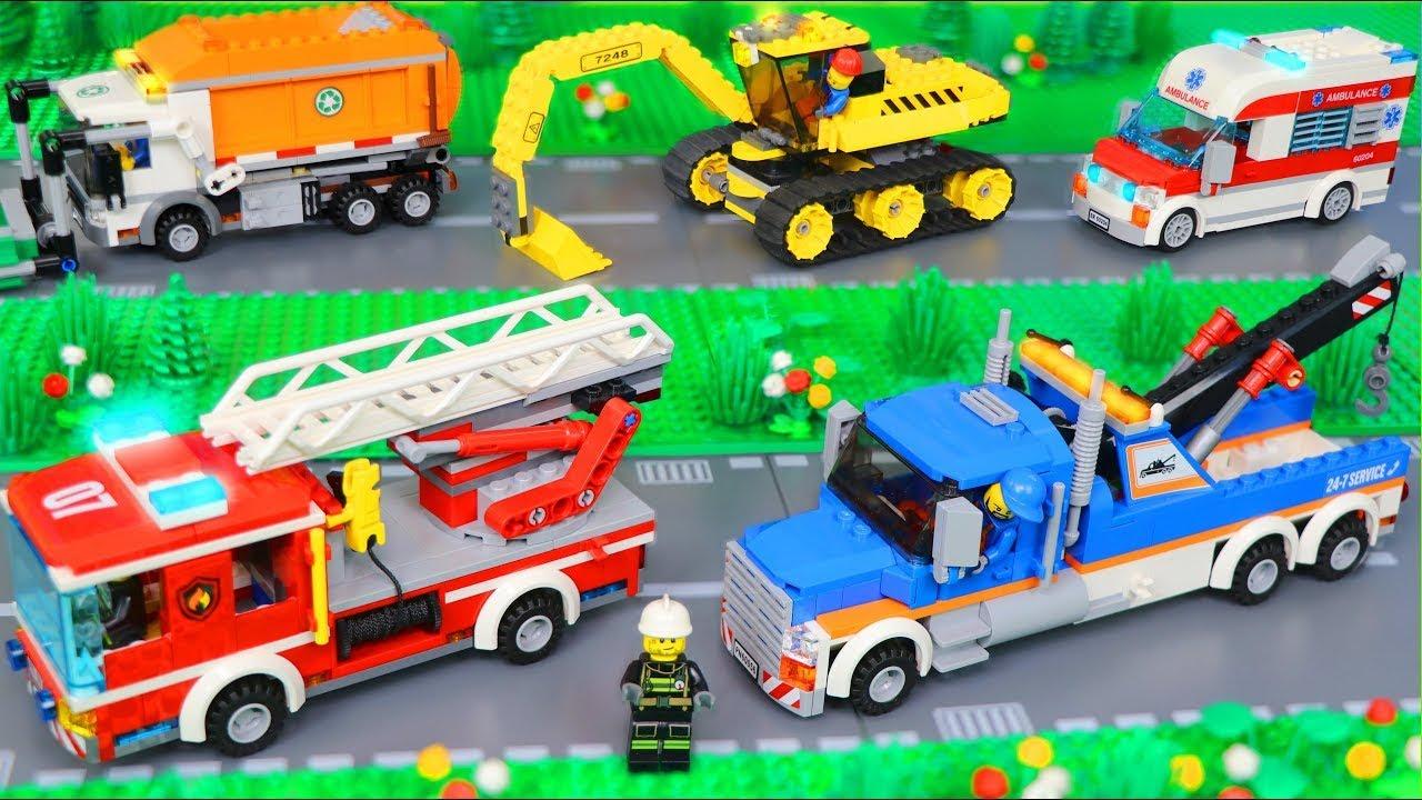 فيلم LEGO مع شاحنة إطفاء وحفارة وسيارة إسعاف وشاحنة قمامة للأطفال