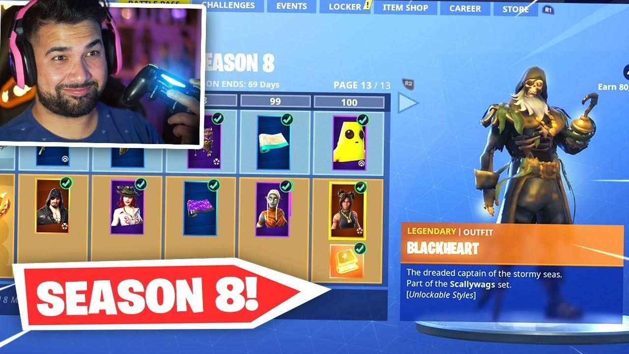 new fortnite season 8 battle pass unlocked tier 100 rewards youtube - buy fortnite battle pass xbox one