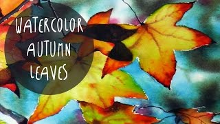 Watercolors Tutorial: How to Paint AUTUMN LEAVES by ART Tv (Vidalon Paper and Daler Rowney colors)