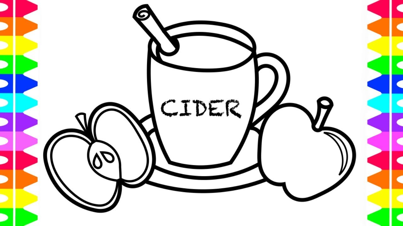 Learning How To Draw Apple Cider Coloring For Kids With Colored
