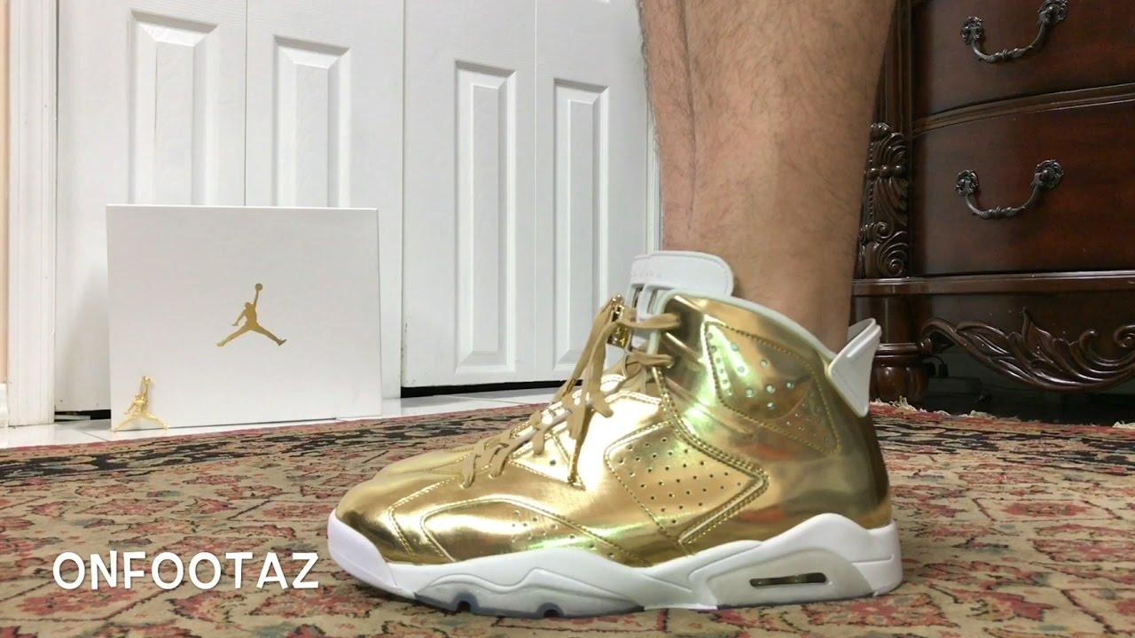 423567214c633f Air Jordan 6 VI Pinnacle Metallic Gold On Foot - YouTube