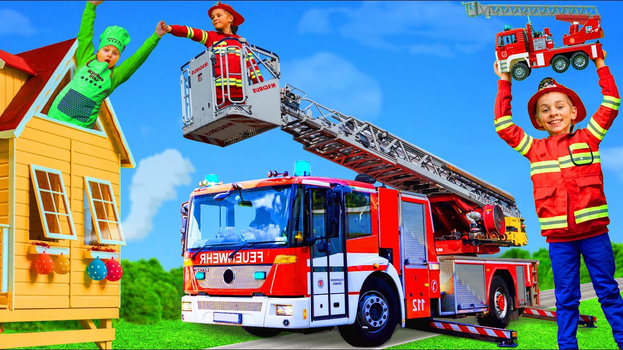 Kids Pretend Play with Real Fire Truck to Learn Fire Safety Rules