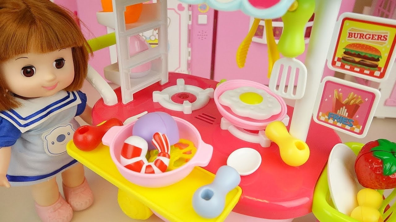 Food cart and baby doll kitchen cooking play baby Doli house