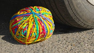 Crushing Crunchy & Soft Things by Car | EXPERIMENT: CAR VS Rubber Band Ball, Microwave | Multi-Do