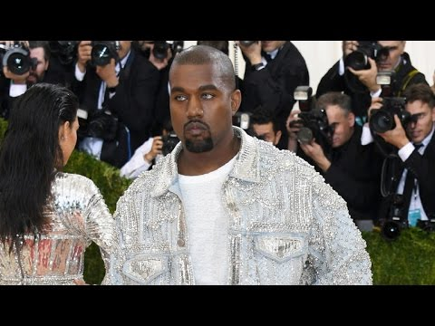 Kanye West Wears Ripped Jeans and Bright Blue Contacts to The Met Gala -- See the Pic!