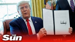 Donald Trump announces the US is imposing 'harding hitting' new sanctions on Iran