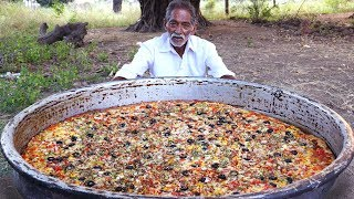 Giant Pizza | Veg Pizza | Amazing Pizza Cooking by our grandpa for  Orphan kids