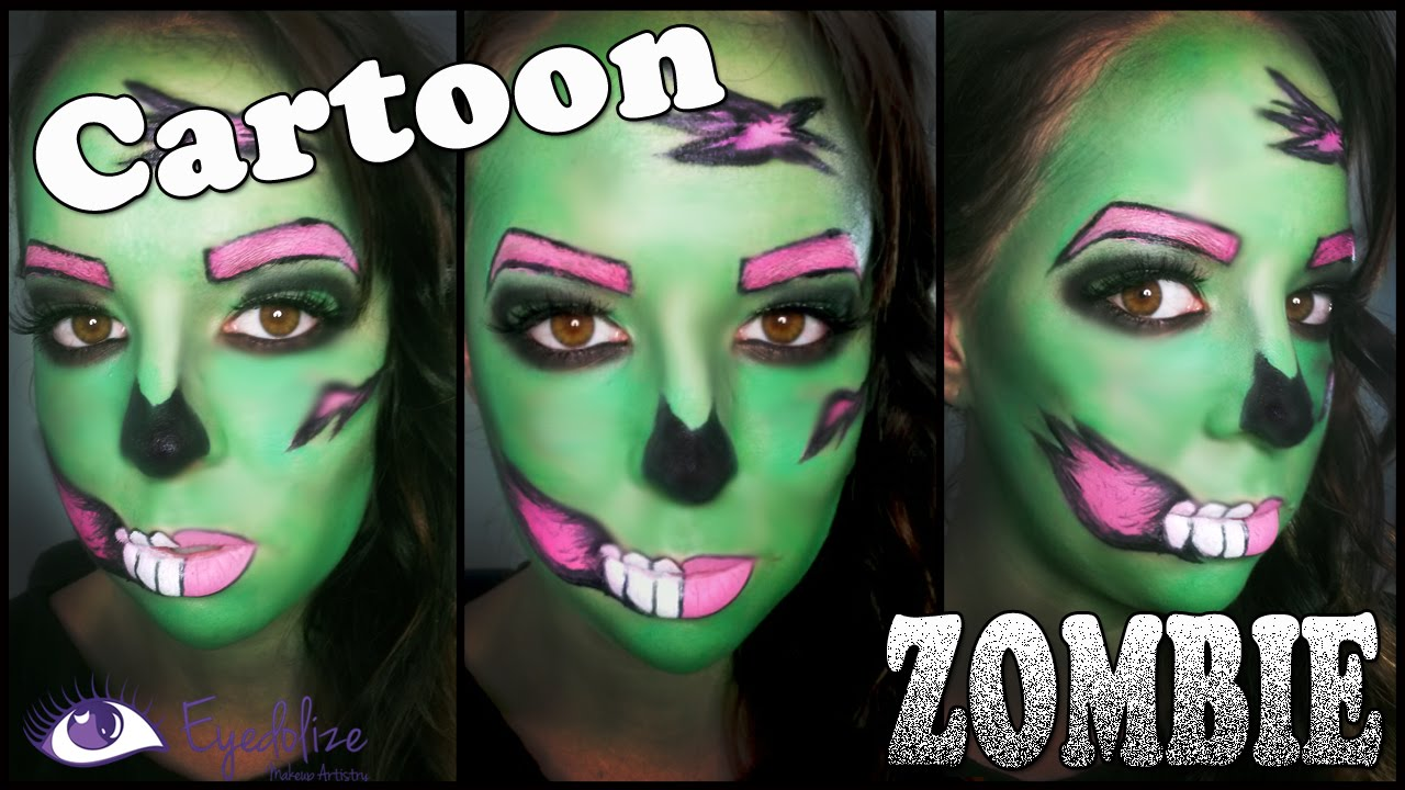 Cartoon Zombie Halloween Makeup Tutorial by EyedolizeMakeup - YouTube