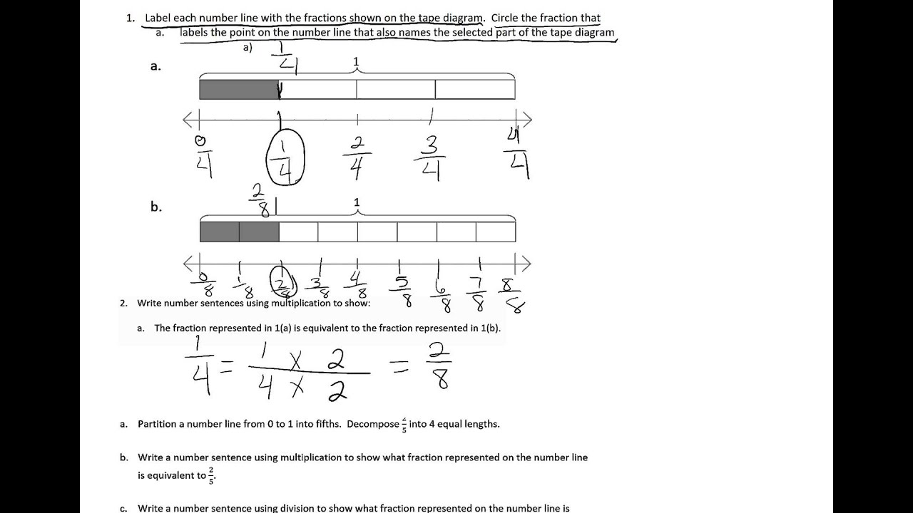 worksheet Fraction Number Line finding equivalent fractions on a number line youtube line