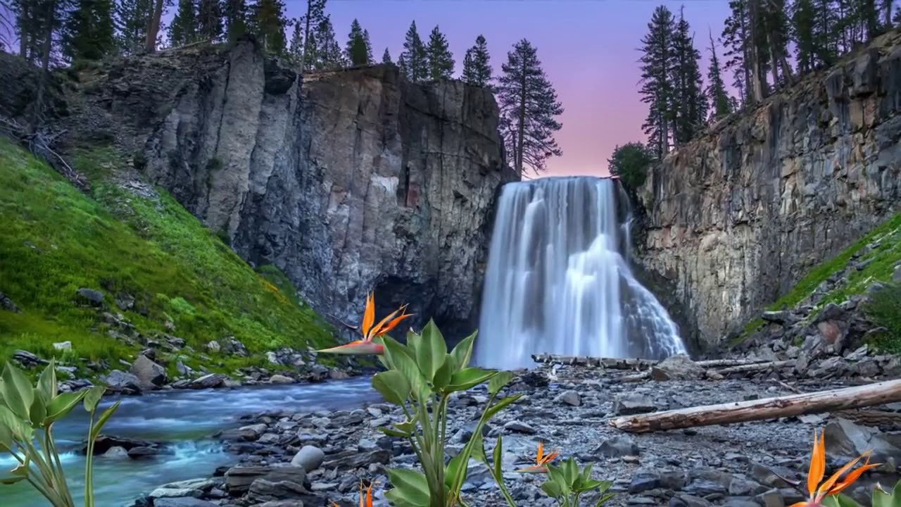 Relaxation Music with Waterfall Nature Sound For Study, Work, Sleep 2020