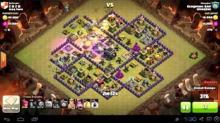 TH9 vs TH9 gowiwi attack | 3 stars | clan wars | clash of clans