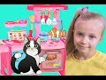 Sonya Cooking Food Toys with Kitchen Play Set and Funny Toy Cat