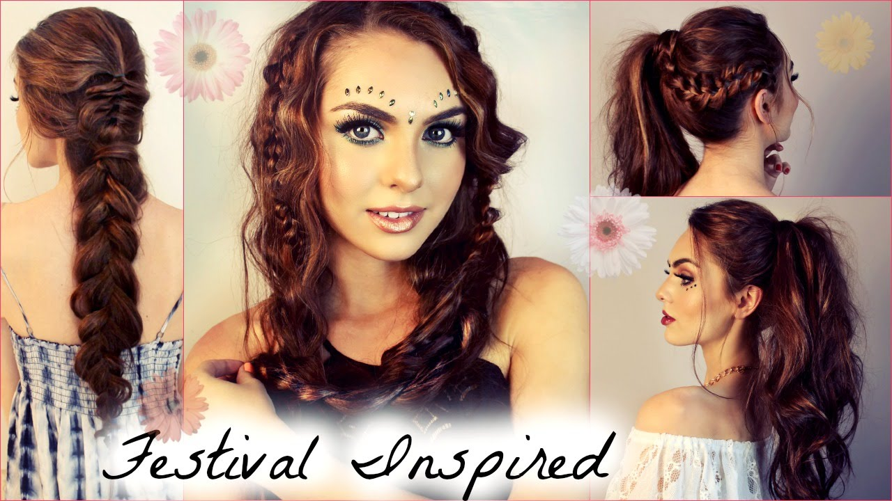Music Festival Hairstyles For Long Hair  Beachy Waves, Braids & Ponytails   Jackie Wyers  Youtube