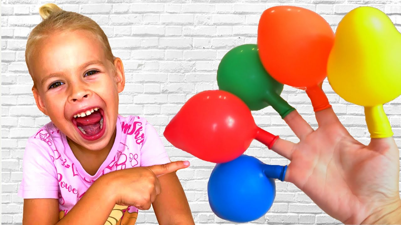 Daddy Family Finger Color Song. Play with Eva Balloons - Children's Songs