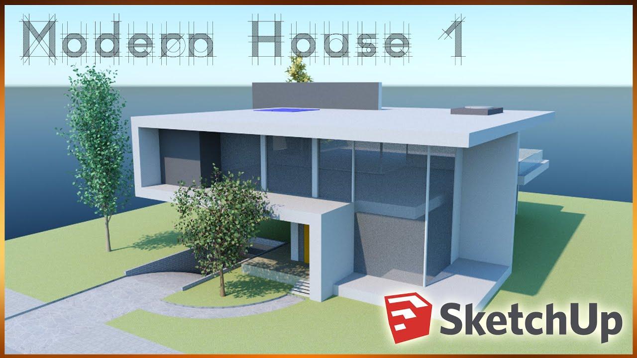 Sketchup modern house 1 sketchup speedbuild