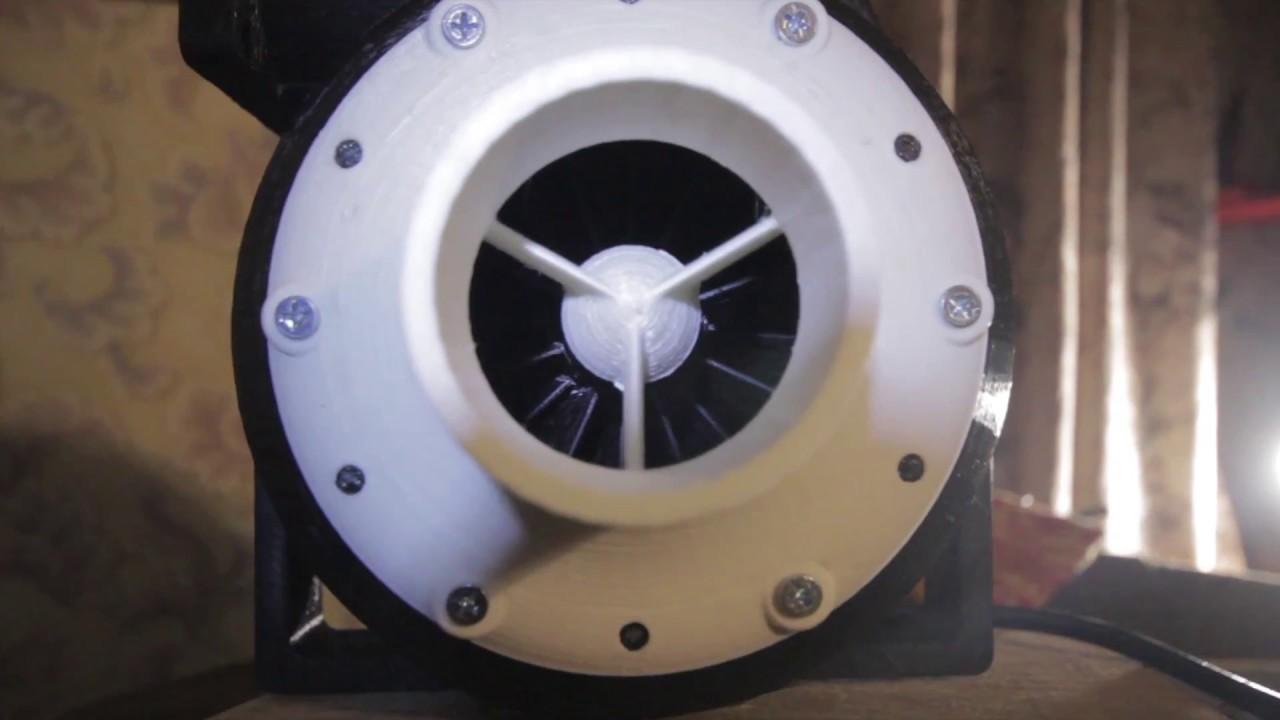3d printed air turbine (air pump) in action / Anet a6