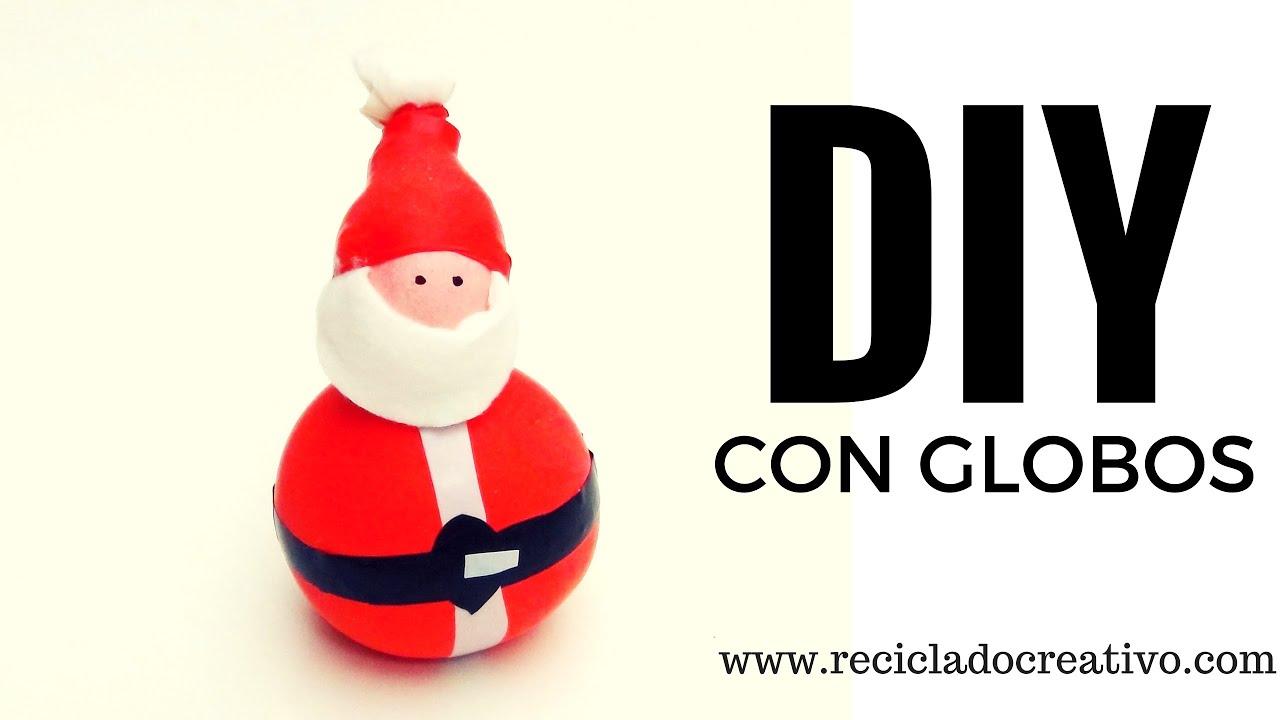 Pap noel hecho con globos y sal manualidad para navidad - Manualidad ninos navidad ...