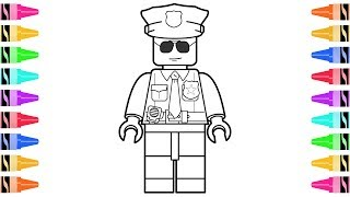 How to Draw LEGO Police Officer | Kids Learn Colors