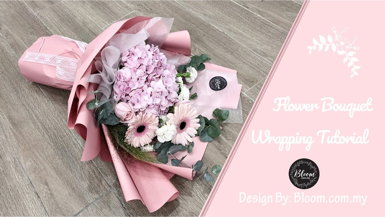 Flower Bouquet Wrapping Tutorial Flower Bouquet Wrapping Technique Ideas Youtube