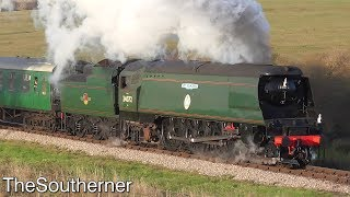 """34072 """"257 Squadron"""" returning to traffic on the Swanage Railway 2018"""