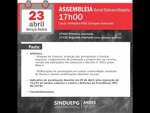 SINDUEPG convoca docentes para Assembleia Geral Extraordinária dia 23 de abril de 2019