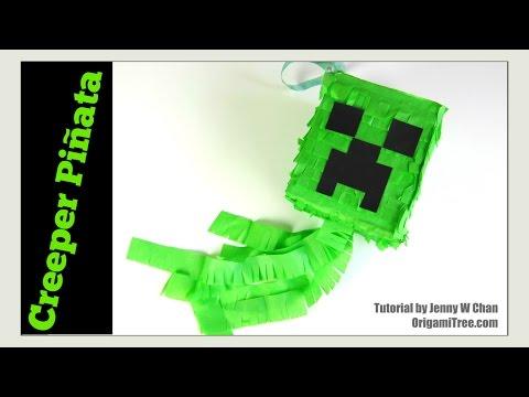 Paper Crafts - How to Make a Piñata- DIY Minecraft Creeper Piñata