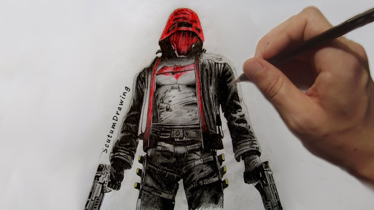 Red Hood Speed Drawing Batman Arkham Knight Youtube