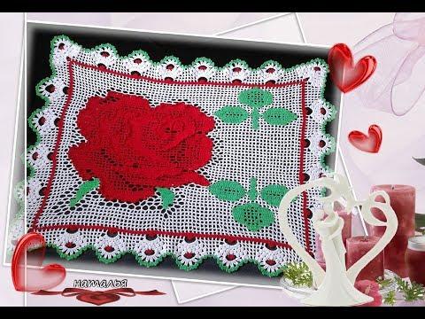Салфетка крючком со схемой  для Конкурса Филейная роза  на канале Ирина на луне / Нужен ваш совет
