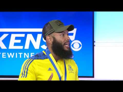 S.A. amputee veteran runs Boston Marathon with U.S. flag