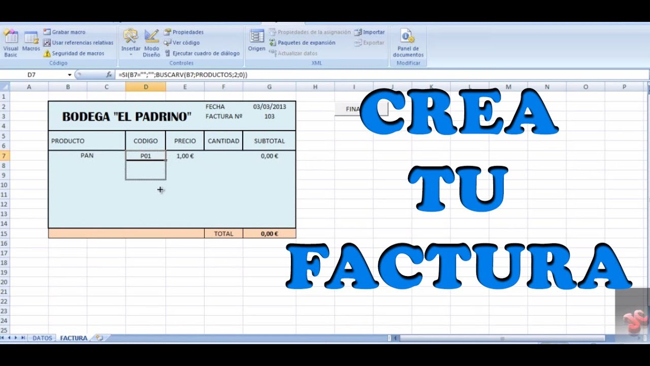 CREAR UNA FACTURA SIMPLE CON EXCEL - YouTube