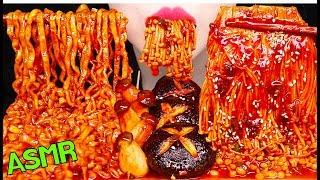 ASMR SPICY ENOKI MUSHROOMS, SPICY NOODLES 매운 팽이버섯, 매콤 볶음면 라면 먹방 EATING SOUNDS