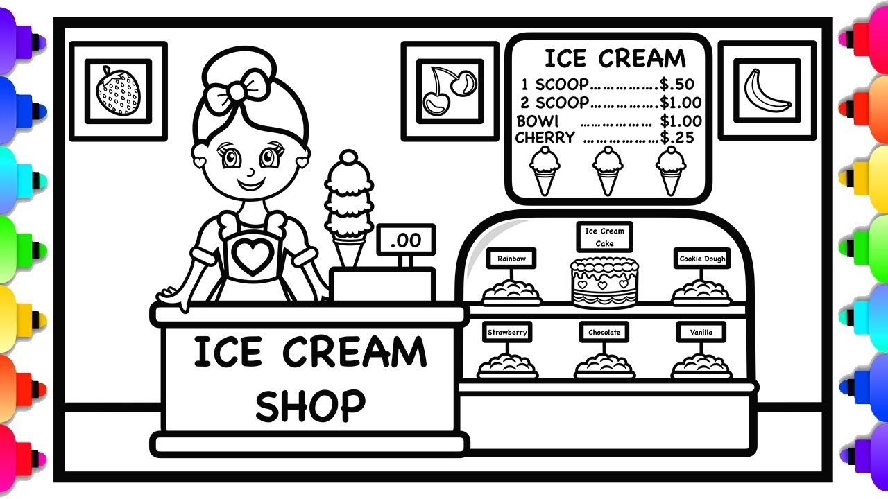 ice cream store coloring pages-#9