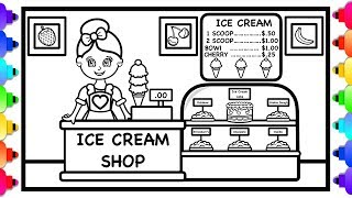 How to Draw and Color an Ice Cream Shop for Kids 😊🍦💜 Ice Cream Shop Coloring Page 💙🍦😊