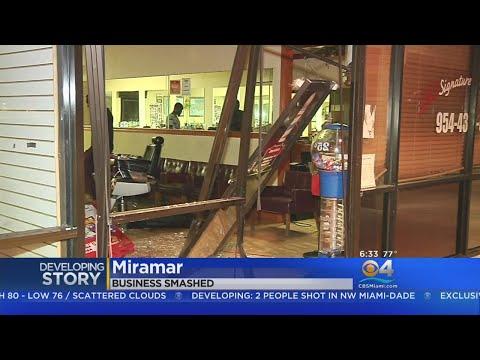 Vehicle Plows Into Front Of Miramar Hair Salon