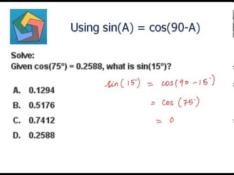 Using sin(A) = cos(90-A) - YouTube