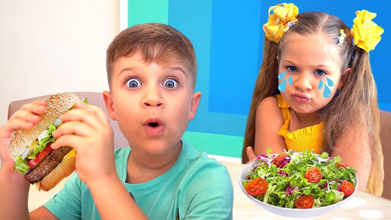 Diana y Roma Juegan a la Escuela y Comen Comida No Saludable