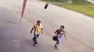 Bizarre video shows man getting hit by runaway tire