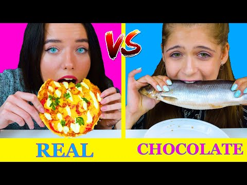 REAL FOOD VS CHOCOLATE FOOD CHALLENGE | EATING SOUNDS LILIBU