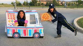 Police Pizza Delivery to Ice cream Truck!! Kids pretend play