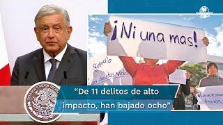 El presidente Andrés Manuel López Obrador reconoció que en sus dos años de gobierno el homicidio doloso, los feminicidios y la extorción han aumentado