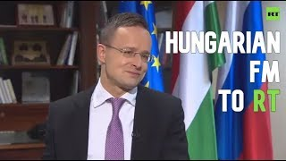 Hungarian Foreign Minister Peter Szijjarto speaks to RT