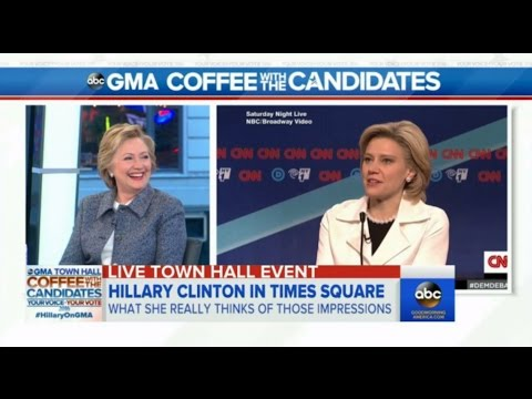 Hillary Clinton and Bernie Sanders react to Kate McKinnon