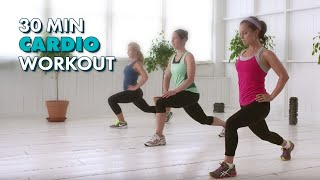30-Minute Cardio - The CafeMom Studios Workout(Work up a sweat and burn fat and calories with this 30-minute workout. This workout uses high intensity exercises to get your heart going, followed by lower ..., 2012-08-26T01:47:09.000Z)