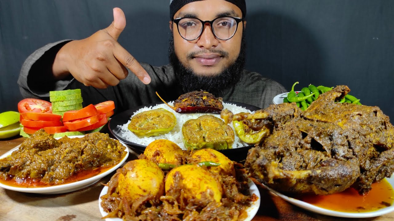 SPICY MUTTON CURRY, SPICY FULL DUCK CURRY, EGG CURRY, FISH FRY, BRINJAL FRY,  MUKBANG EATING VIDEOS