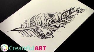 How to Draw a Feather -- Zentangle inspired