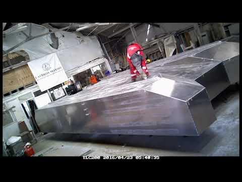 Timelapse 9m x 4.5m Aluminium Barge Fabrication. Boat Building. Aluminium Welding & Fabrication