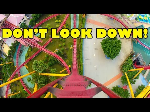 Straight Down Vertical Drop Roller Coaster Front Seat View Chimelong Paradise China POV